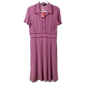 Boden Pink & White Honeycomb Pattern Dress UK 14R